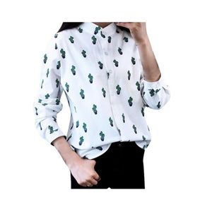 Shallow Novelty Cactus Print Button Down Blouse